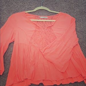 Boho chic peplum loose coral top